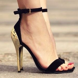 Zara Basic Black and Gold Ankle Strap Pumps